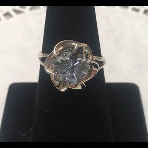 Vintage Diamonique blue topaz ring